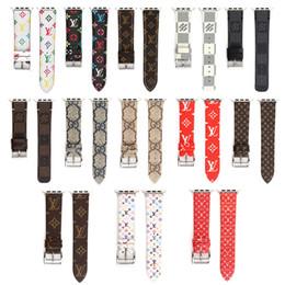 faixa de couro 22mm Desconto Top designer de luxo relógio de couro banda para iwatch 38mm 22mm 42mm 24mm tamanho bandas pulseira para a apple watch watchband 13 estilos