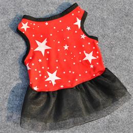 Patrón de falda de perro online-Vestidos de crespón negro Pet Dog Summer Dog Skirt Vestido de algodón transpirable Patrón de estrellas Pet Puppy Costume Clothing