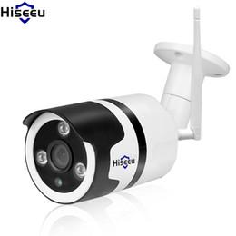 cúpula câmera de segurança metal Desconto Camera Hiseeu HD 720p 1080p IP sem fio Wi-Fi Camara Outdoor Noite impermeável Visão IR Cut Memória Home Security