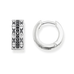 2ff2bf0e6 Black CZ Creole Asian Ornament Hinged Hoop Earrings Style Creolen Earring  925 Sterling Silver Jewelry Ts Gift For Women