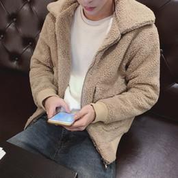 8a533f73265 2018 Invierno de los hombres de la moda de la solapa de lana de cordero  Thickne acolchado de algodón suelta Casual cálido negro   color beige  Chaquetas ...