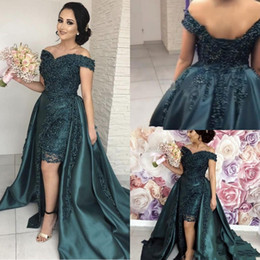 Pizzo basso africano online-2019 sexy verde scuro prom dresses sirena spalle spalle appliques in rilievo perline high low backless africano abiti da sera formale del partito