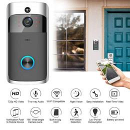 Timbre de la puerta de intercomunicación visual online-Inalámbrico Inteligente WiFi DoorBell IR Video Anillo Visual Cámara Intercomunicación Seguridad para el hogar