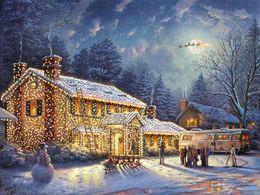 Vacanze di Natale di Thomas Kinkade Art National Lampoon, pittura a olio di stampa riproduzione di alta qualità Giclee su tela Modern Home Art Decor da biancheria da letto floreale pittura ad olio fornitori