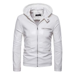 white biker jacket men Coupons - Cool Men Moto&Biker Jacket PU Leather Coat Spring Autumn Hooded Jacket Male Casual White Full Sleeve Zipper Hoodies Outwear