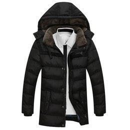 snow parkas Promo Codes - Men Jackets And Coat Winter Snow Warm Thick Hooded Long Down Parkas Brand Fashion Slim Fit Cotton Chaqueta Homme SL-E422