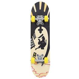 Rodas completas on-line-Esportes Extremos de Madeira de bordo Placa de Skate Popular Na Moda Único Entortar Adolescentes Slide Skate Completa Scooter de Quatro Rodas