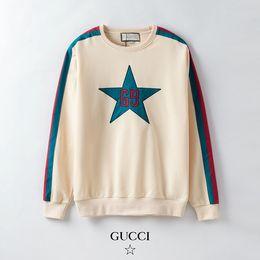 Женская красная футболка онлайн-Мужские и женские брендовые кофты женские красные и зеленые ленты пуловер Молодежная Звезда печати топы девушки повседневная одежда мода одежда
