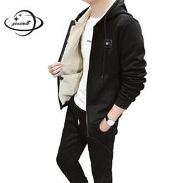 мужская одежда набор зима мужской с длинным рукавом с капюшоном молния куртка+эластичный пояс брюки 2шт костюмы сплошной цвет добавить шерсть мужская одежда y143 от