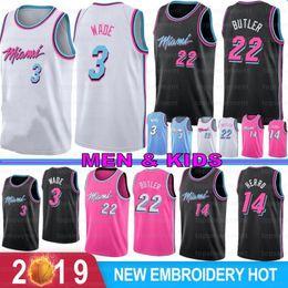 2019 vadear baloncesto NCAA Dwyane Wade 3 para hombre de baloncesto de la universidad jerseys Dragic Jimmy Butler, 22 7 21 Goran Hassan Whiteside 14 Tyler Herro cosido vadear baloncesto baratos