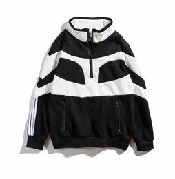 Pulôver macho branco on-line-18 masculino e feminino além de veludo preto e branco costura mangas compridas hip hop solto pullover moda meia zip camisola novo estilo