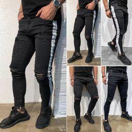 super gerippte jeans Rabatt Mode-Männer dünne dünne zerrissene Jeans Super Stretch ausgefranste Jeans Lange Hosen