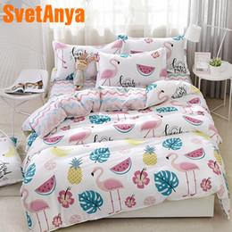 2019 camas baixas baratas Svetanya Moda Flamingo Folha Fronha Capa de Edredão Set China Conjuntos de Cama Baratos Único Tamanho da Cama de Casal desconto camas baixas baratas