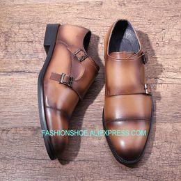 da7b0e2b511 2019 ручной работы Мужская обувь итальянский ручной пряжки ремень мужская  формальное платье обувь монах оксфорды Hombre