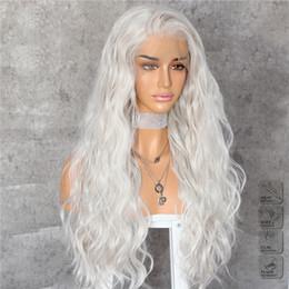 Dia das bruxas prateado branco longa onda de água parte livre de cabelo resistente ao calor camada de maquiagem diária sintética rendas frente perucas para as mulheres do partido cosplay de