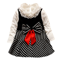 f08825531105 ARLONEET 2019 newst baby dress Fashion Kids Baby Girl Long Sleeve Bow  Striped Princess Dress T shirt Clothes Set Z0208