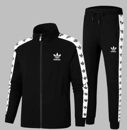 Fato de jogging para homens on-line-Hoodies e Moletons dos homens Sportswear Man Polo Jaqueta calças Jogging Jogger Conjuntos de Gola Alta Sports Fatos de Treino Suor Ternos