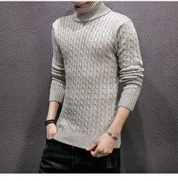 2020 camisas masculinas com gola alta Mens Designer de Malha Camisola Ocasional do Inverno Camisola de Gola Alta Macho Mangas Compridas Camisa de Lã Atutumn Homens Slim Fit Pullover camisas masculinas com gola alta barato