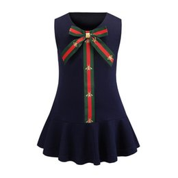 Moda bebê menina vestidos crianças on-line-Vestidos de meninas do bebê moda abelhas impresso tarja arcos gravata colete vestido de crianças roupas de grife crianças gola redonda falbala vestido de princesa