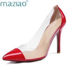Abiti da sposa aa online-Dress Maziao Women Pumps 2019 Trasparente 11cm Tacchi alti Sexy scarpe da punta a punta slitta Scarpe da sposa per donna taglia grande taglia 44 45