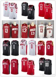2019 rote raketen Herren Damen Jugend Houston 13 James Harden 0 Russell Westbrook benutzerdefinierte Basketball Trikots Rockets Rot Schwarz Weiß
