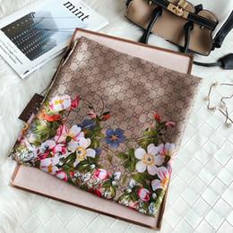 Designer Seidentuch für Frauen 2019 Frühling Top Marke Floral Flower Lange Schals Größe 180x90Cm Schals Geschenk von Fabrikanten