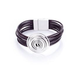 pulseras de alambre de cuero Rebajas Nuevo y moderno cable de cobre redondo multicapa cordón de cuero geniune multicolor pulseras de cierre magnético brazaletes para mujeres y hombres