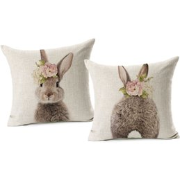 Decorare l'arredo dell'orso online-Bunny With Flower Bear Giraffe Zebra Hedgehog Baby Animals Cushion Cover 45X45cm Linen Throw Pillow Cover Baby Room Sofa Decor