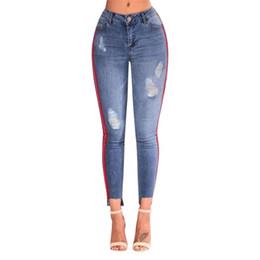 jeans, furos, lados Desconto Ripped Stretchy Hole Lápis Calças Mulheres Denim Jeans De Cintura Alta Side Stripe Rasgado Buraco Calças Azul jeans de cintura alta para as mulheres