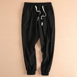 mens moda calças de linho Desconto Mens Corredores de Linho de Algodão Feixe de Pé Tornozelo Comprimento Harem Pants Moda Casual Calças Lápis Plus Size M-3XL Sweatpants