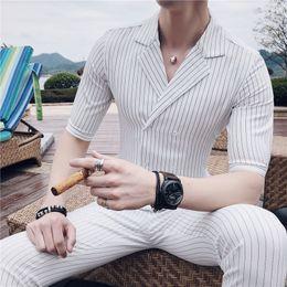 costumi strisce bianche nere Sconti Abito doppiopetto Costume estivo Mariage Homme Abito a righe blu bianco grigio blu set Smoking Uomo Trajes De Hombre SH190822