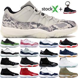 skins sapatos para homens Desconto Jumpman Snake Skin Cred 2019 11 11s tênis de basquete Cap e vestido Space Jam Heiress Preto Platinum Tint homens mulheres tênis US5.5-13