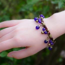 Китайские каменные браслеты онлайн-HayStarWay девушки женщин Женский браслет подарков ювелирных изделий ручной цепи Халцедон Дизайн Природа Камень Оригинальный День рождения Китайский стиль