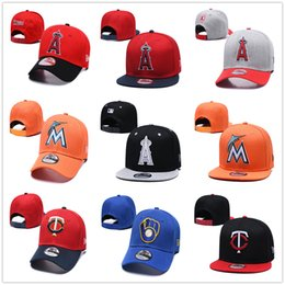 miami de beisebol Desconto Los Angeles Angels LA Chapéu De Beisebol Miami Marlins Snapback Baseball Nova Era Chapeau Milwaukee Brewers Cap Minnesota $ Twins Casquette