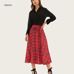 Argentina MUHAO verano cintura alta celosía falda plisada larga de las mujeres más el tamaño falda faldas largas para las mujeres estilo coreano maxi Suministro