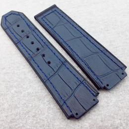 couro de fusão Desconto 25mm / 22mm boa qualidade moda azul pulseira de borracha de couro de bambu para clássico fusão 44-45mm hb big bang