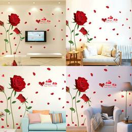 rosas de arte de parede Desconto Muro DIY moda removível Red Flower Rose Adesivos Mural Art decalques Home Decor 60x90cm