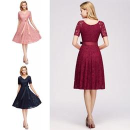 68b8ba6f852 Discount knee length designer occasion dresses - Designer Short Sleeve Lace  Cocktail Party Dress V Neck