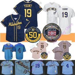 Camisas de basebol do azul bebé on-line-Robin Yount Jersey 2020 New Paul Molitor Baseball Hall Of Fame Marinha Remendo Creme Cinzento Azul bebê pulôver