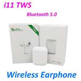 беспроводные наушники наборы оптом Скидка i11 TWS Беспроводная связь Bluetooth 5.0 3D бас-вкладыши Бинауральные звонки гарнитуры PK i10 i11 i12S tws для наушников