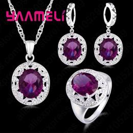 collar de circón morado Rebajas Top joyería de la boda Calidad Establece la plata esterlina 925 púrpura circón cúbico del collar / pendiente / anillo para venta Superficie opcional para el anillo