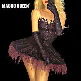 Deutschland Sexy Drag Queen Kostüme Strass Tutu Kleider Mit Handschuhen Promi Roter Teppich Runway Dance Wear Bühne Für Sänger cheap red dance gloves Versorgung