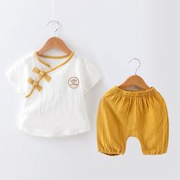 chinesische einzelmädchen Rabatt Baby Kleidung Kleinkind Baby Jungen Mädchen Kleidung 2 Stücke Outfit Set Chinesischen Stil Kurzarm T-Shirt Tops Hosen Kleidung Set