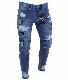 Los hombres con estilo pantalones rotos de moda flaco delgado rectos pantalones de mezclilla deshilachados Nueva Moda Hombres Ropa desde fabricantes