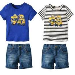 75733baa9c479 New 2019 Summer Cartoon short sleeve Kids Sets kids designer clothes boys  Suits T shirt+ shorts Jeans Girls Outfits kids clothing A2681