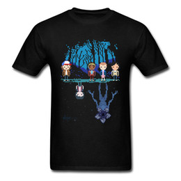 adventure games Promo Codes - Stranger Pixel Men Tee Shirt Summer T Shirts Cotton T-shirt Cartoon Tops Novelty 80s Game Tshirt Fun Forest Adventure