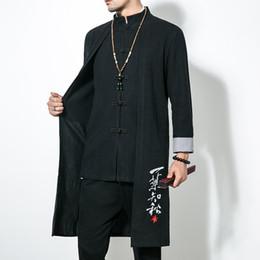Heiße männer trenchcoat online-Hot Herren Mäntel Jacken Trench Herbst Baumwolle und Flachs Männer lange Mantel-Mode im chinesischen Stil Casual Male Tough Guy Retro