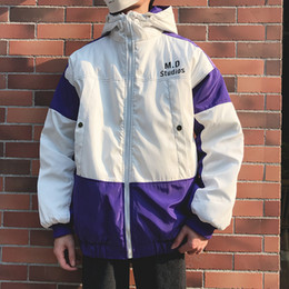 7de914626c4 2018 Harbor wind Winter new male thickened patchwork Contrast color Cotton-padded  clothes loose casual Student Bread served coat