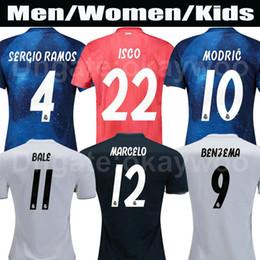 e269563b4ea Men Soccer Shirts Real Madrid Kids Football Kits 2018 19 ISCO ASENSIO BALE KROOS  Soccer Jersey Blue EA Sports Jerseys MARCELO MODRIC uniform