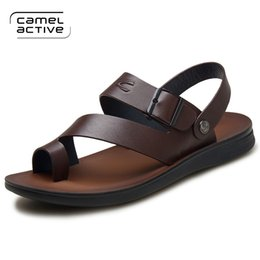 aaa10aa6faa2 Camel Active 2018 Mens Sandals Genuine Leather Summer Shoes New Beach Men  Casual Shoes Outdoor Sandals for man Plus Size 38-44  130140